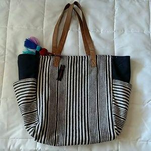 Large Denim Stripe Tote Bag